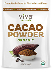 Viva Naturals Certified Organic Cacao Powder from Superior Criollo Beans, 1 LB