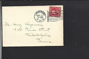 LYNCHBURG, VIRGINIA 1912 VF+ COVER WITH FLAG MACHINE CANCEL, CAMPBELL CO 1794/OP