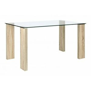 Table Arley Plan Glass, Legs MDF Rivest. Effect Wood, Various Sizes
