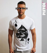 Pistol Boutique mens White Crew ACE OF SPADES SKULLS card Tshirt SALE Small