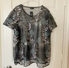 Lane Bryant Embroidered Mesh Sheer Blouse Top Black Plus Size 26/28