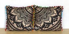 "16"" Indian Mandala Black Gold 2 Pcs Sofa Set Pillow Cushion Case Cover Throw"
