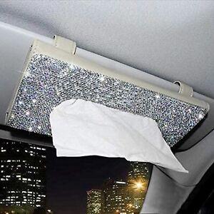 Car Visor Tissue Box Case Bling Crystal Rhinestones Car Back Seat Napkin Holder