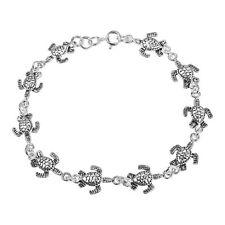 Sterling Silver Bracelet Cute Sea Turtles Link
