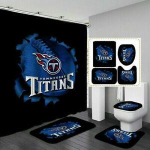 Tennessee Titans Bathroom Rugs Set Shower Curtain Toilet Seat Cover Bath Mat