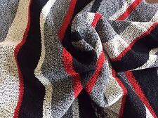 BLACK,RED,GRAY & CREAM STRIPED COTTON POLY SWEATER KNIT-62W- BY THE YARD