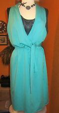 T TAHARI HOLLEY NWT size 20 $178 women's dress aqua blue faux wrap around