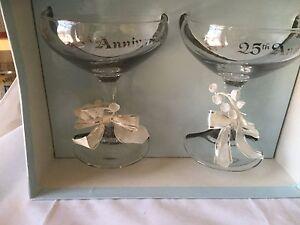 25TH SILVER ANNIVERSARY GLASSES TOAST GLASSES White bows ribbon silver engraving