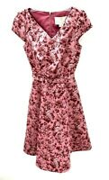 Gal Meets Glam Womens 4 Elle Pint Floral Dress V-Neck Fit & Flare Pockets NWT