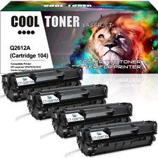 4 Pack for HP Q2612A 12A Toner Cartridge LaserJet 1018 1020 1022 Ink  Black