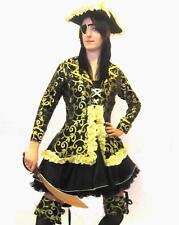 Pirate Fancy Dress Ladies Costume  Black/Gold 6 Pieces