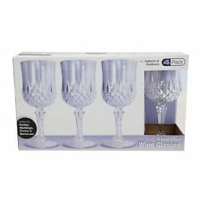 Pack of 4 Rigid Reusable Plastic Wine Glasses Dishwasher Safe Crystal Style