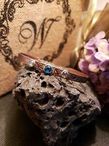copper bracelet women handmade rhinestone blue crystal