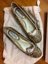 JIMMY CHOO WALSH GOLD SEQUIN & METALLIC WOMENS LEATHER BALLET FLATS! EUR 38.5