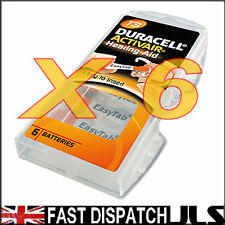 6 Duracell 13 DA13 A13 ORANGE Hearing Aid Batteries