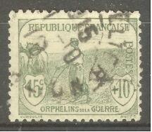 "FRANCE STAMP TIMBRE N° 150 "" ORPHELINS, FEMME AU LABOUR 15c + 10c "" OBLITERE TB"
