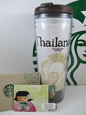 New Starbucks Thailand Tumbler Travel Mug Coffee 12oz with Thai Girl Gift card