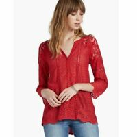 Lucky Brand - Women's L - NWT $59 - Tomato Red Lace Mixed Media Knit Top Blouse