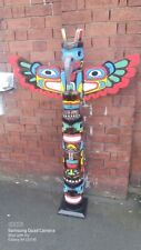 More details for totem pole 150cm hand carved wooden painted native american man cave