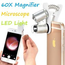 60X Clip-on Microscope Loupe avec DEL/UV Lights pour iPad iPhone X 8 7 6 plus