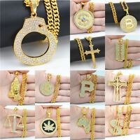 """Men's Hip Hop Gold Plated Ice Out Round Maple Leaf Pendant 23"""" Chain Necklace"""