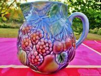 Cruche vintage pot à lait vase Fruits Faïence de Barbotin France Antique Jug Mil