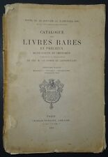 Catalogue des livres rares et précieux du Comte de Lignerolles - Partie 1 / 1894