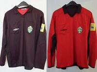 UMBRO SVENSKA SVFF Black Red Reversible Referee Football Shirt Jersey Size L