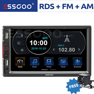 """7"""" Double 2 DIN Car MP5 Player Bluetooth Touch Screen Stereo Radio RDS w/ Camera"""
