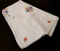 VINTAGE WHITE /OFF WHITE TABLE CLOTH MACHINE EMBROIDERED COLORFUL FLORAL