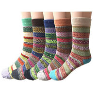 5 Pairs Womens Wool Cashmere Thick Sock Lady Soft Casual Winter Thermal Socks