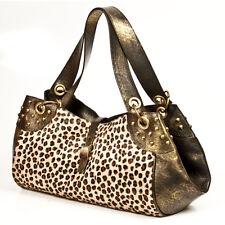 New Rock Leopard Print Gold Leather Handbag