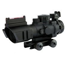Sports Tactical 4x32mm Scope BDC Reticle Fiber Optic Backup Sight