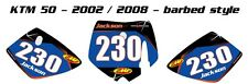 Custom number plate graphics for KTM 50 2002-08 Barbed stickers / decals