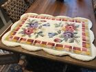 """GORGEOUS! Vintage Hand Hooked Wool Floral Rug Scalloped Edge 24"""" x 36"""""""