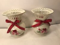 2 ROSE BOUQUET VASES BY FORMALITIES BY BAUM BROS VICTORIAN ROSE COLLECTION 7.25""