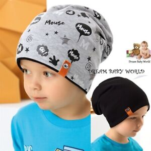 Reversible BEANIE Cotton boys hat spring BABY BOY KIDS  2-7 years NEW