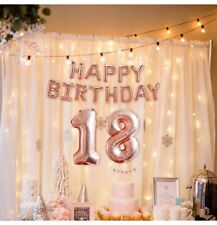 Rose Gold 18th Happy Birthday Letter Balloons Inflating Party Foil Bunting Decor