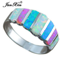 Pink & Blue & White Fire Opal Ring 925 Silver Wedding Band Jewelry Gift Size5-10
