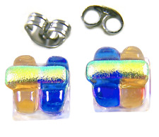 """Tiny Dichroic Glass Post Earrings 1/4"""" 10mm Cobalt Blue Amber Yellow Fused Studs"""