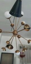 STILNOVO SPUTNIK DESIGN xXL CHANDELIER 16 LIGHTS BRASS OPALINE BALL