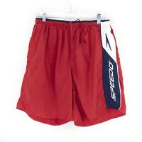 Vintage Speedo Spellout Swim Trunks Embroidered Shorts Mens Size Large L Red