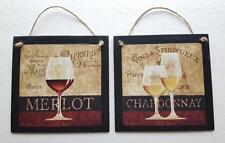 Paris Wine Glass Wall Hang Decor Merlot Chardonnay Set of 2