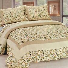 3 Pc Felicity flowers leaves country tan green 100% Cotton Queen Quilt Shams