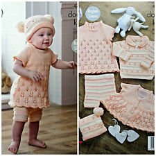 Knitting Pattern Baby Lacy robe chapeau pull short Cardigan DK King Cole 4731