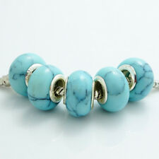 Blue turquoise 5pcs silver European Charm beads fit Necklace Bracelet DIY
