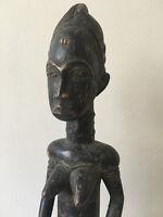 Superbe authentique et ancienne statue africaine femme baoulé (Cote d'Ivoire)