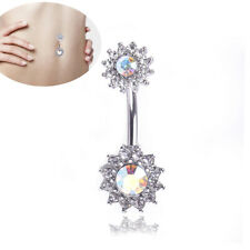 Flower Dangle Navel Belly Button Ring Barbell Crystal Piercing Body Jewelry_GiES