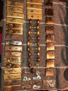 LARGE 10-SET COLLECTION OF EARLY 1900's VINTAGE MORTISE LOCKS, KNOBS, BACKPLATES