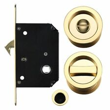 Sliding Door Privacy Lock Set - Polished Brass (40mm - 44mm Thick Doors)